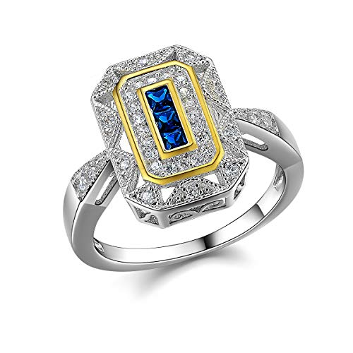 Newshe Vintage Rings for Women Gemstone Ring 925 Sterling Silver Blue Sapphire Princess Cz Size 6