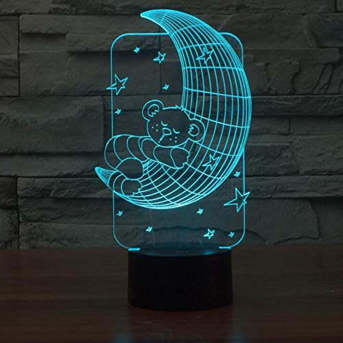 KangYD Luz de noche 3D Bear Sleeping On The Moon, lámpara de ilusión LED, C - Touch Crack Blanco (7 colores), Luz de la moda, Regalo de amante, Lámpara visual