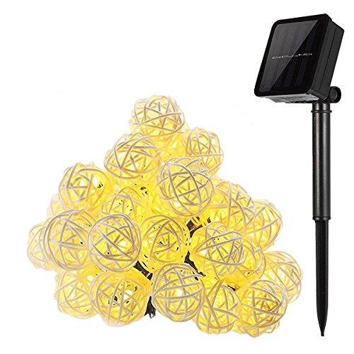 kingcoo® 16.4 ft 20 LED Guirlande Lumineuse Boule Rotin Lampe à énergie solaire Globe lumineux de Noël extérieur étanche pour jardin décoration maison mariage fête de Noël, Plastique, Blanc chaud 0.20 wattsW