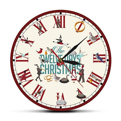 yage Doce días de Navidad Números Romanos Reloj de Pared Retro Vacaciones Navidad Decoración del hogar Reloj Rojo Colgante Reloj de Pared de Barrido silencioso