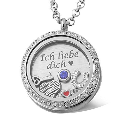 Juwelier Schönschmied - Damen Charm-Medaillon aus Edelstahl cristal inkl. Gravur und Kette CM2 - Nemont