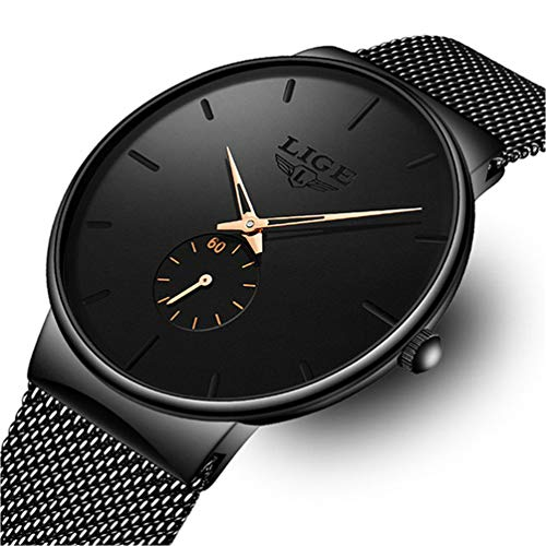 Relojes para Hombre de Pulsera Deporte de Acero Inoxidable Negro de para Hombre Ultra Fino...