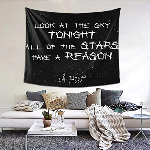 Gbxiat Lil Peep Star Shopping Lyrics Starry Background Boutique Tapisserie Wandbehang Tapisserie Vintage Tapisserie Wandteppich Micro Fiber Peach Home Decor 60X51 In