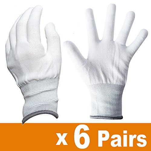 Ehdis Nylon Weiß Arbeitshandschuhe Stretchy Vollfinger Arbeitshandschuhe Antistatische Anti-Rutsch Handschuhe zum Waschen, Autopflege, Haushalt Reinigung Keeper - 6 Paar