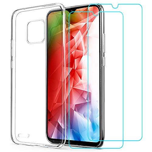 (3 in 1) for Ulefone Note 7 Case + (2 Pack) Glass Screen Protector Slim Clear Soft TPU Silicone Phone Case Cover with (Clear) Transparent for Ulefone Note 7