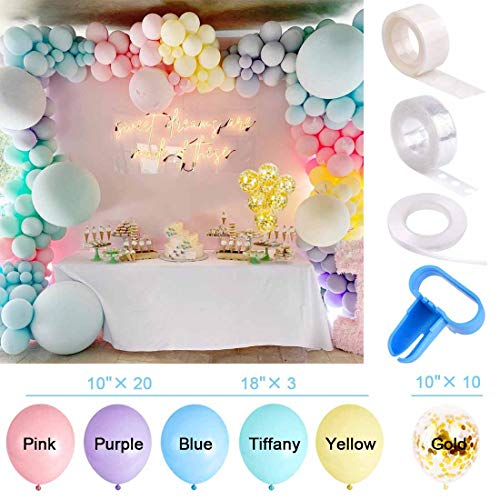 Yiran 130 Pieces Unicorn Balloon Garland Arch Kit 5M16ft Long Macaron Balloons Pastel Rainbow Balloons for Birthday Party Backdrop Background Decorations for Girls Kids