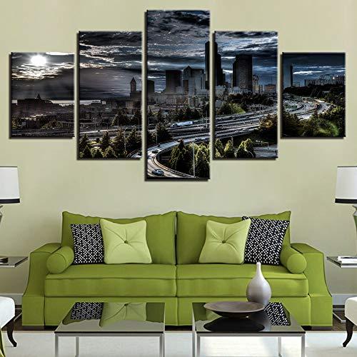 WMWSH Immagini Moderni Murale Fotografia Grafica Famose Idee Architettoniche 5 Pannelli da Parete Immagini Decorazione Moderna per La Casa, Stampa Art
