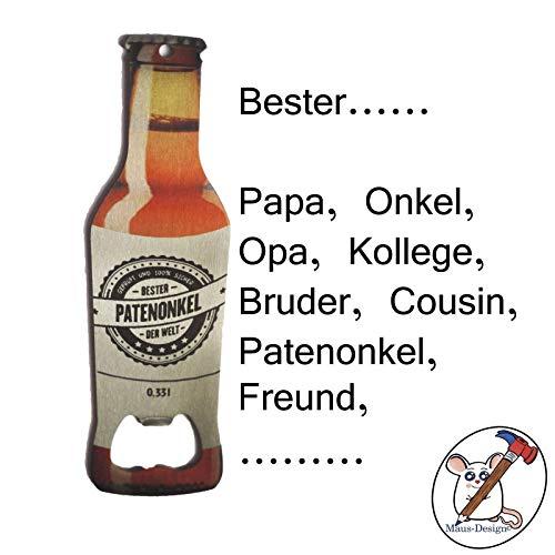Maus-Design Flaschenöffner Bester Papa, Opa, Onkel, Patenonkel/Sie entscheiden für wen dieser Flaschenöffner ist/Individualisierbar/Auch mit Name