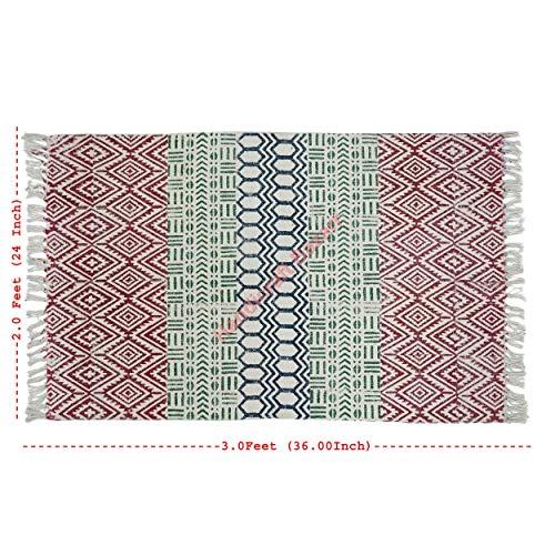 Handicraft Bazarr Alfombra de algodón Killim alfombra de 2 x 3 pies, bloque de mano impreso alfombra de algodón para decoración del hogar, meditación, alfombra de algodón hecha a mano