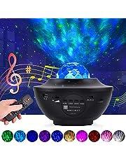 Star Projector Nachtlampje LED Sterrenhemel Projectielamp Ocean Wave Projector met Afstandsbediening 10 Kleuren Veranderende met Muziek Speaker Timer Geschikt voor Decoratie Kids Party Dance Vloer Plafond