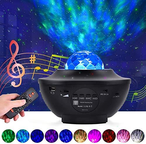 LED Projektor Sternenhimmel Lampe Sternenprojektor mit Fernbedienung & Bluetooth Lautsprecher Lampe Starry Stern Mond/Wasserwellen 10 Farbwechsel für Baby Kinder Schlafzimmer Haus Dekoration Party