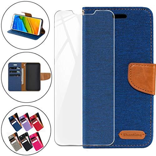 HYMY Denim Hülle für Wiko Tommy 2 Plus + Schutzfolie Panzerglas Folie - Lederhülle Flip Schutzhülle Card Slot mit Brieftasche Handyhülle Bookstyle Flip Cover Case - Blau