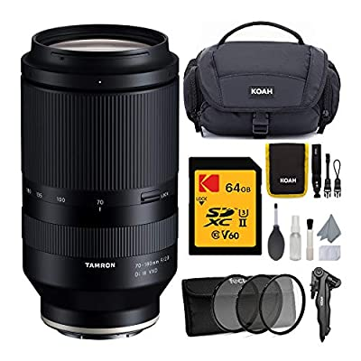 Tamron 70-180mm f/2.8 Di III VXD Lens for Full-Frame and APS-C Sony E-Mount with 64GB UHS-II U3 V60 SD Card, 67mm 3-Piece Lens Filter Kit, and Koah Nostrand Camera System Gadget Bag Bundle (4 Items) by Tamron