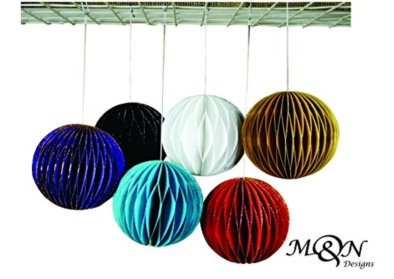 Set of 6 Multi Color Glittering Handmade Paper Honeycomb Pom Poms Christmas Birthday Wedding Party Decoration