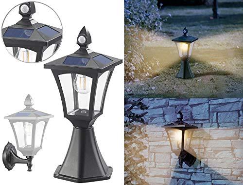 Royal Gardineer Aussenlampe: Solar-LED-Stand- & Wandlaterne, PIR-Sensor, Dämmerungssensor, 300 lm (Solarleuchte Garten)