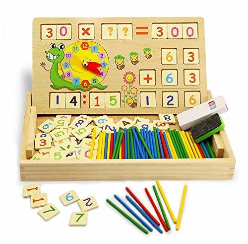 CT Montessori Mathe Spielzeug aus Holz Lernbox mit Multifunktionen: Zahlen Lernen mit Rechen-Stäbchen, Zeichnung, Uhr kennenlernen für die frühe Motorik Entwicklung & Ausbildung Ihres Kindes