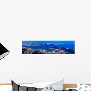 Wallmonkeys WM361844 Rio De Janeiro City at Twilight Peel and Stick Wall Decals (18 in W x 5 in H), Small
