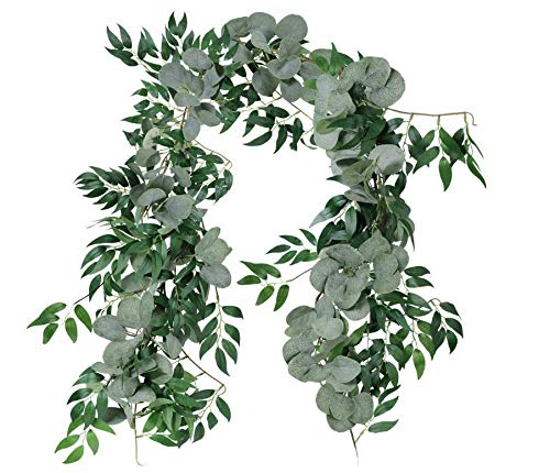 Anlising Eucalyptus And Willow Garland Artificial Blended Faux Silver Dollar Hanging Leaves Vines For Home Garden Wall Doorway Outdoor Decoration, Birthday Wedding Party Decor