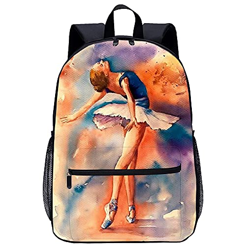 YSSMGS Mochila escolar para hombre Chica de ballet Mochila para portátil para niños, niñas, para portátil de 15,6 pulgadas, mochila ligera unisex para la universidad, mujeres, hombres