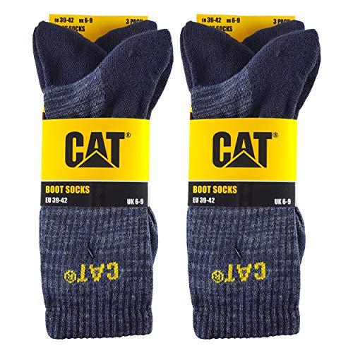Caterpillar Boot Socks 6 Paar Stretch-Baumwollsocken, verstärkte Zehen und Fersen, geeignet für Stiefel (Blau, 43-46)