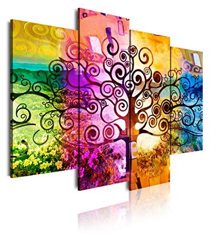 DekoArte - Cuadros Modernos Impresión de Imagen Artística Digitalizada   Lienzo Decorativo Para Tu Salón o Dormitorio   Estilo Abstractos Arte Árbol de la Vida de Gustav Klimt   4 Piezas 120 x 90 cm