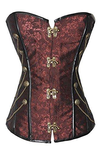r-Dessous Vintage Corsage braun Korsett Shirt Bustier Korsage Top Steampunk Corsagentop Gothic große Größen Groesse: M