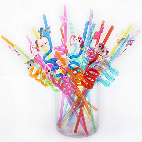 Etern 20 Pezzi Cannucce di Plastica Unicorno, Cannucce di Plastica Riutilizzabili, per Feste di Compleanno per Bambini, Feste di Natale, Decorazioni da Tavola per Feste di Famiglia
