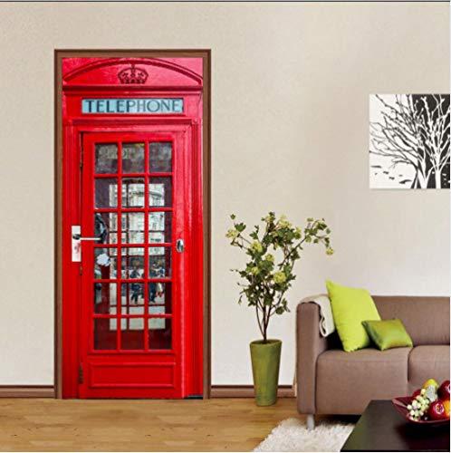 OHEHE Türtapeten Selbstklebend 3D Telefonzelle Türtapeten Wasserdicht Türposter Selbstklebend Abnehmbar Fototapete Schlafzimmer Wohnzimmer Wohnkultur PVC 77x200cm