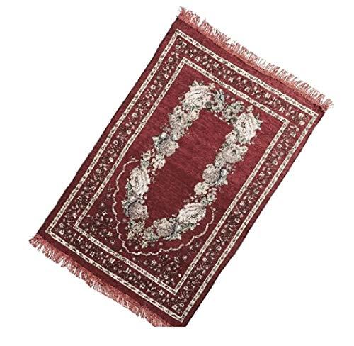 Sandala Dünner weicher Chenille Islamisches Blumenmuster Muslimische Gebetsteppich Ramadan Teppich Matte Moschee Quaste (Weinrot)