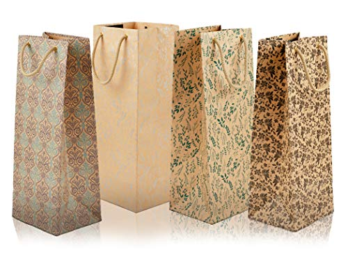 SWHF Wine & Gift Bottle Paper Carry Bags with Printed Design (Multicolored Pack of 4) (Small (5 * 5 * 14 Inches))