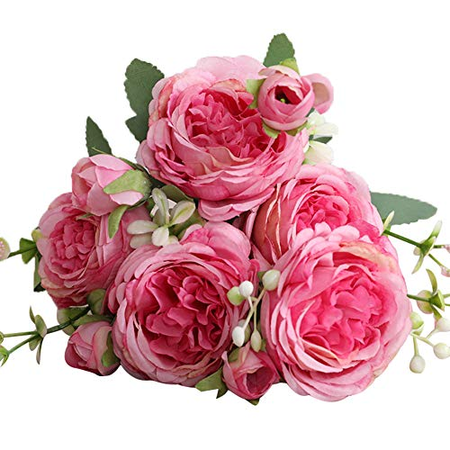 Eamoney 1Pc 5-Head Artificial Flowers Flocked Fake Plants, Cloth Rose Home Party Bridal Home Wedding Tablefor Home Wedding Christmas Party Office Indoor Table- Pink & Purple