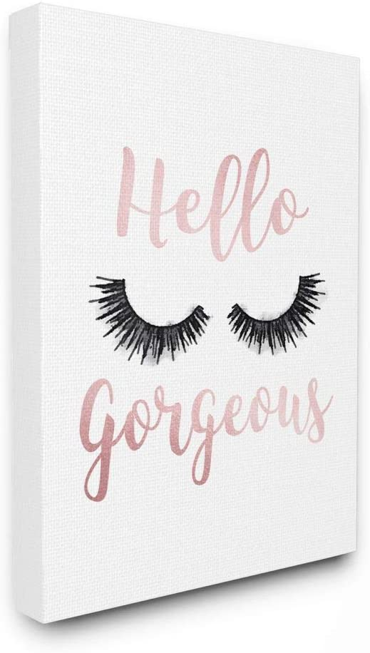 Stupell Baltimore Mall Industries Finally popular brand Hello Gorgeous Black Can Eyelashes Typography