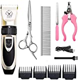 HFAN Pet Clippers, Professional Cordless Low Noise Rechargeable Grooming Trimmer Hair Electric Shaver Kit with 4 Comb Guides scissors for Dogs, Cats and Other Animals.