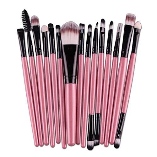 PoplarSun 2018 New 15pcs cosmétiques Pinceau de Maquillage Femmes Fondation Fard à paupières Eyeliner lèvres Maquillage Pinceaux Yeux Set 11 WH998 (Handle Color : 15Pink)