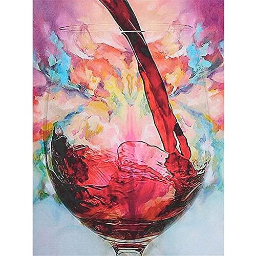 Diamond Painting Copa de vino tinto, DIY 5D Pintura Diamante Kit para Adultos/Niños, Rhinestone Punto de Cruz Diamante Bordado Artes, para Decoración de la Pared Del Hogar Round drill,70x90cm