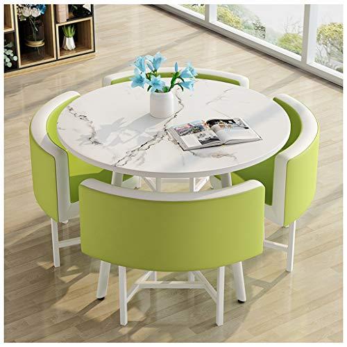 Mesa de oficina y silla Set 1 mesa y 4 sillas de cuero 80 cm mesa redonda restaurante cocina dormitorio ocio mesas y sillas Cafe leche tienda de té varios colores: naranja, verde, amarillo