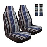 AOTOMIO 4PCS Baja Blanket Front Seat Covers Boho Style Blue Car Seat Covers Ethnic Style Coarse Flax Cloth Hippie Covers Universal Fit …