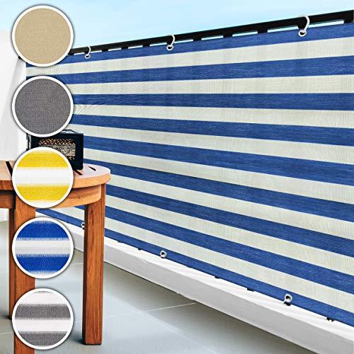 casa pura Balkon Sichtschutz UV-Schutz | 90x500cm | wetterbeständiges und pflegeleichtes HDPE-Spezialgewebe | blau-weiß gestreift