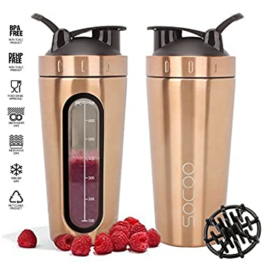 Protein Shaker Bottle Stainless Steel Dishwasher Safe Leak Proof With Loop Top & Ball Portable BPA Free Mixer Cup For Women Men Gym Fitness Workout Shaker Cup Large 28oz (Gold)