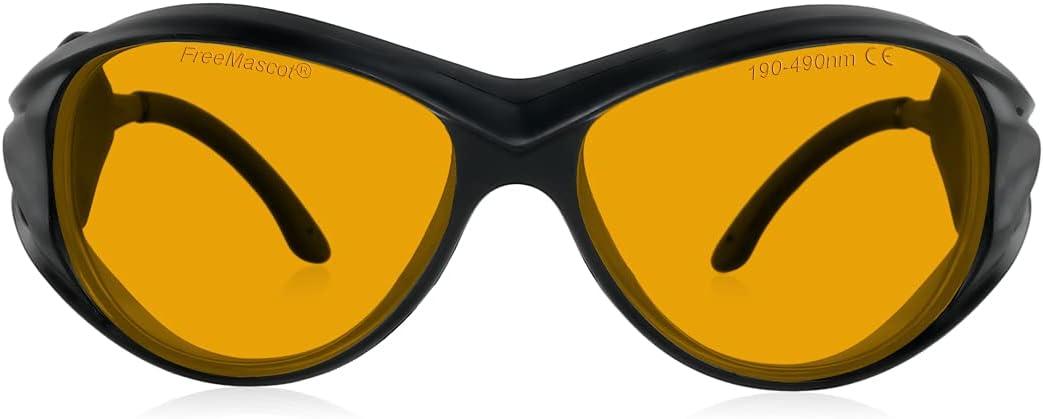 Gafas de seguridad profesionales OD 6+ 190 nm-490 nm con longitud de onda para láser violeta/azul para láser de 405 nm, 445 nm, 450 nm, 473 nm (negro)