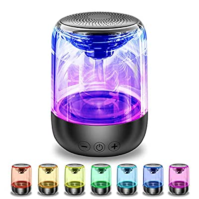 Bluetooth Speaker, Portable Adjustable 7-Color Light 360° Stereo Sound Crystal Glass Music Speakers With 12-Hour Playtime,Works With Mobile Phones, Tablets, Laptops And Desktop Computersand More from SYOSIN