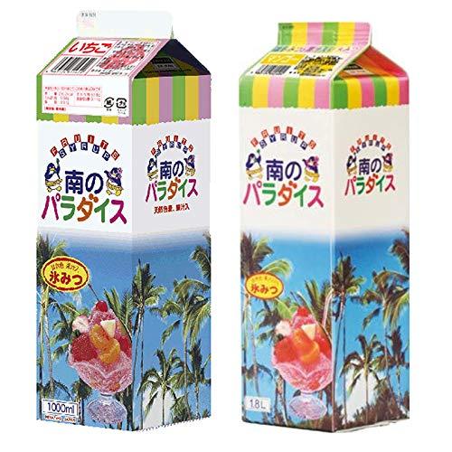 天然着色料のかき氷シロップ1L×12本セット いちご6本+マンゴー6本(果汁入り・保存料不使用) 業務用