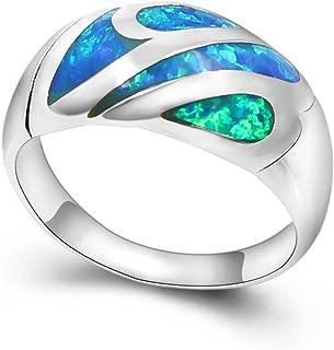 Sinlifu Blue Opal Inlay 925 Silver Jewelry Gemstone Wedding Ring