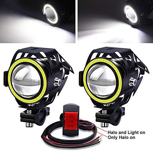 YnGia Focos delanteros de motocicleta 12 V 24 V, 2 luces antiniebla LED DRL para motocicleta con interruptor de 3 cables ON/ON/OFF, faros de motocicleta U7 impermeables con halo blanco