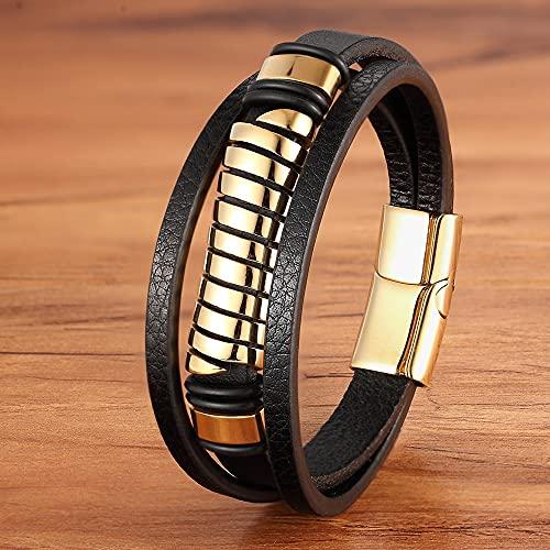 WLMT Moda de Lujo diseño geométrico de múltiples Capas de múltiples Capas Pulsera de Acero Inoxidable de Acero de Oro de Acero de Oro imán de Pulsera de Regalo (Length : 23cm, Metal Color : Gold)