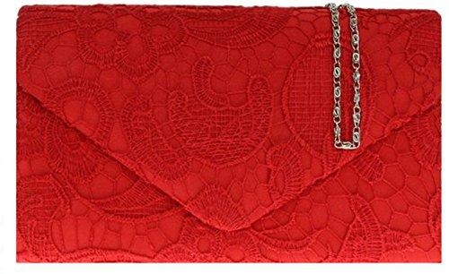 Damen Satin Spitze Handtasche Schulter Ketten elegante Hochzeits Abend-Frauen - Rot