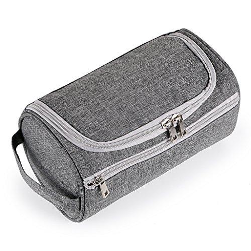 IGNPION Men's Travel Toilet Wash Bag Grooming Kit Makeup Pouch Water Resistant Toiletry Organiser with Hanging Hook (Grey)