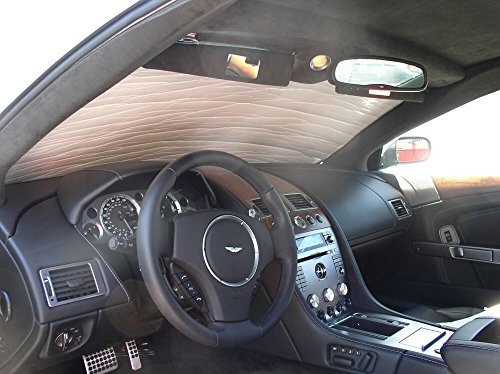 HeatShield, The Original Windshield Sun Shade, Custom-Fit for Aston Martin V8 Vantage Coupe 2006, 2007, 2008, 2009, 2010, 2011, 2012, 2013, Silver Series
