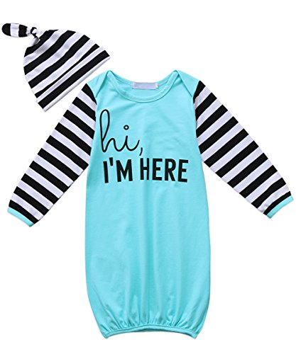 Canis Newborn Baby Boys Girls Long Sleeve Letters Print Sleep Bag Gowns Striped Blanket with Headband/Hat (80(0-12M), Blue)