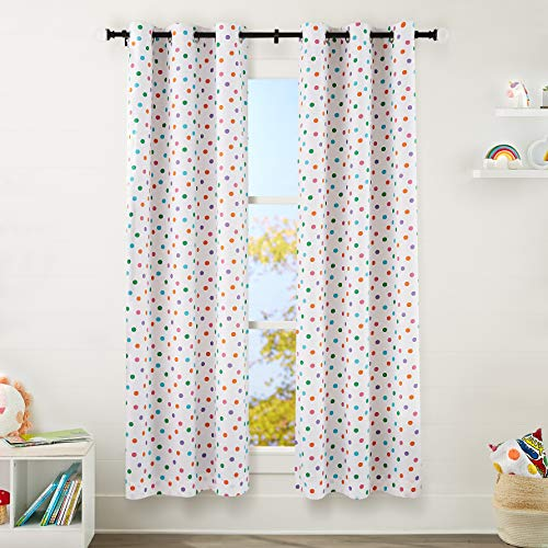 "Amazon Basics Kids Room Darkening Blackout Window Curtain Set with Grommets - 42"" x 84"", Multi-Color Polka Dots"